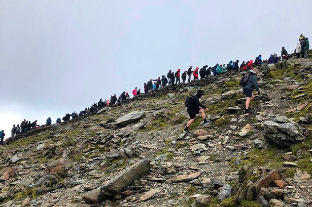 Queues for Snowdon Summit